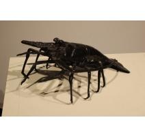 Langouste en bronze patine noire