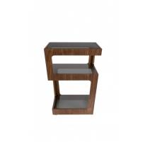Lado de la Mesa Glavo en madera de nogal y cristal
