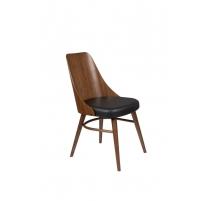 Chair Chaya walnut and leatherette black