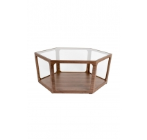 Coffee Table Sita in walnut and glass
