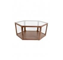 Mesa de café Sita en madera de nogal y cristal