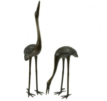 Pair of cranes in bronze