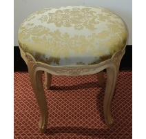 Round stool style Louis XV beech wood carved
