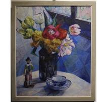 """Tableau """"Bouquet de fleurs"""" monogrammé CM"""