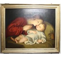 """Painting """"Angel protector"""" signed DESCHWANDEN 1869"""