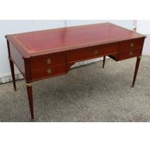 Flat desk Louis XVI style Necker, mahogany