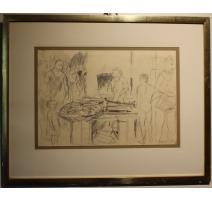 """Рисование """"Рынок рыбы"""", подписанный ДЕРЕНА 54"""