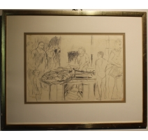 "Drawing ""fish Market"", signed DERAIN 54"