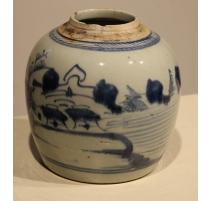 Pot à gingembre décor paysage bleu blanc