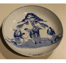 Assiette en porcelaine décor Sages bleu blanc