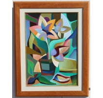 "Painting ""still life cubist signed NICOLA"