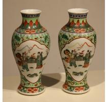 Paar vasen der chinesischen familie grün