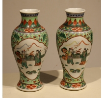 Пара китайские вазы зеленая семья