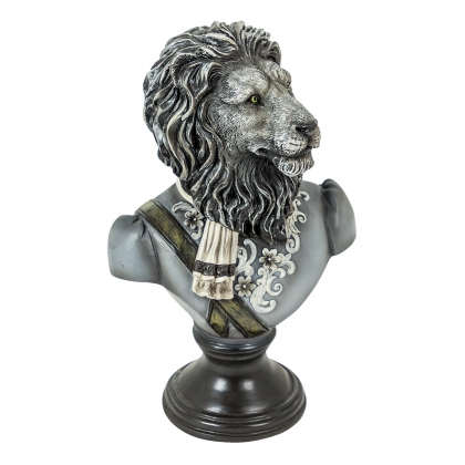 Bust of a lion uniform resin black-and-white