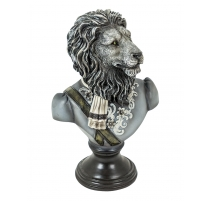 Bust of a lion uniform resin black and white