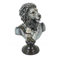 Buste de lion en uniforme en résine noire et blanc