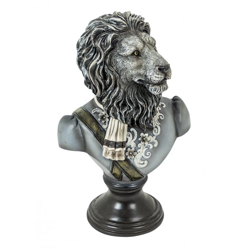 Бюст льва в форме смолы черный и белый