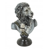 Busto de un león uniforme de la resina en blanco y negro