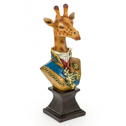 Bust of a giraffe in uniform resin