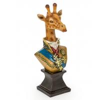 Bust of a giraffe in uniform in resin