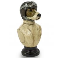 Busto de perro piloto de carreras en resina