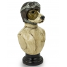 Bust of dog racing driver resin