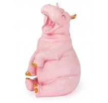 Hippopotame riant en résine rose et doré