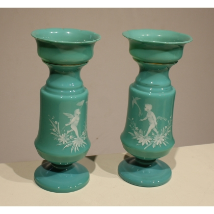 Pair of vases in opaline green decor angels,