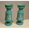 Pareja de jarrones en opalina verde decoración de los ángeles,