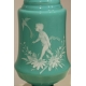 Pair of vases in opaline green decor angels