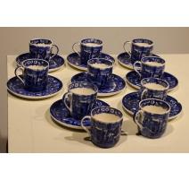 Lot de 8 tasses et sous-tasses Wedgwood