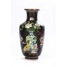 Vase cloisonné décor de vases sur fond noir