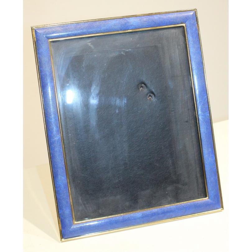 Cadre à photo en laiton émaillé bleu