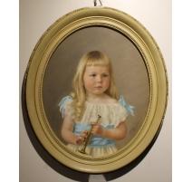 """Pastel """"Jeune fille à la trompette"""" signé C.SORDET"""