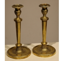Paire de bougeoirs Directoire en bronze