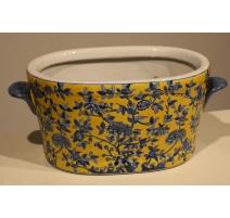 Jardinière en porcelaine bleue et jaune