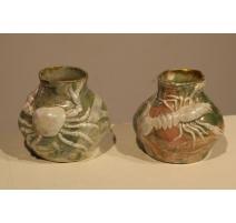 Paire de vases Crabe et Ecrevisse en porcelaine