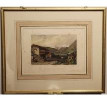 """Gravure """"Chaumière Suisse"""" par C. STANFIELD"""