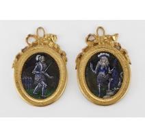 Paire de miniatures en Émail de Limoges