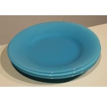 Assiette opaline bleue