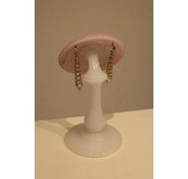 Porte-chapeaux en opaline blanche et rose