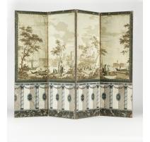 Paravent au papier peint à décor orientaliste