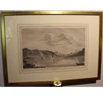 """Gravure """"Vue de l'entrée du Valais"""" par BREMDOIN"""