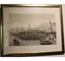 """Gravure """"Embarquement des troupes à Lucerne"""""""