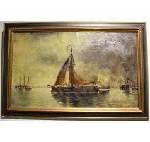 """Tableau """"Bateaux dans un port"""" signé F. BROCKMAN"""