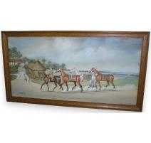 "Gouache ""Horses"", signed."