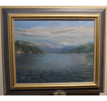 """Tableau """"Bout du Lac Léman"""" signé RUTH 91"""
