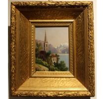 """Tableau """"Eglise de Villette"""" non signé"""
