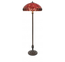 Lampadaire style Tiffany, abat-jour rouge