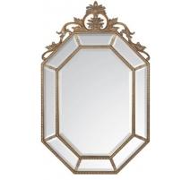 Miroir à parcloses octogonal avec fronton